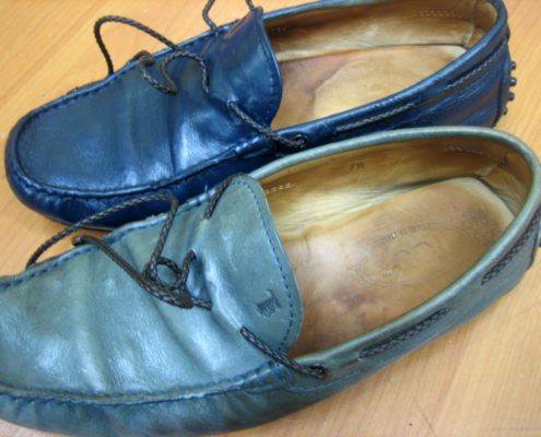 Shukey Leather Repairs Recolor Boat Shoes Blue