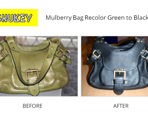 Shukey Leather Repair - Before & After Mulberry Bag Recolor Green to Black