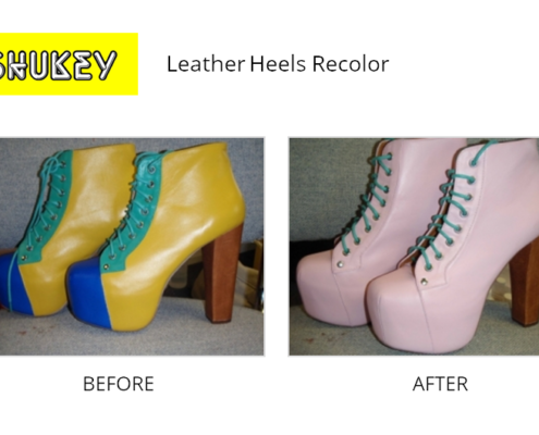 Shukey Leather Repair - Before & After Leather Heels Recolor