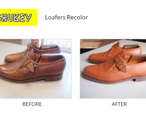 Shukey Leather Repair - Before & After Leather Loafers Recolor