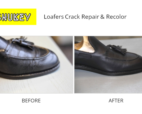 Shukey Leather Repair - Before & After Leather Loafers Crack Repair & Recolor