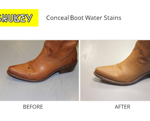 Shukey Leather Repair - Before & After Leather Conceal Boot Water Stains