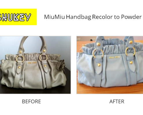 Shukey Leather Repair - Before & After Leather MiuMiu Handbag Recolor to Powder Blue