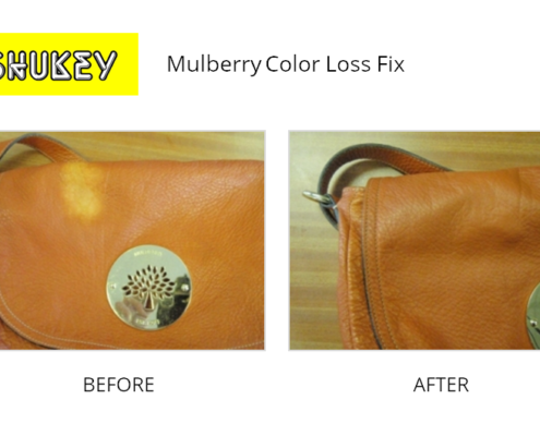 Shukey Leather Repair - Before & After Leather Mulberry Color Loss Fix