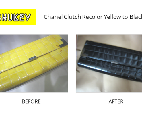 Shukey Leather Repair - Before & After Chanel Clutch Recolor Yellow to Black
