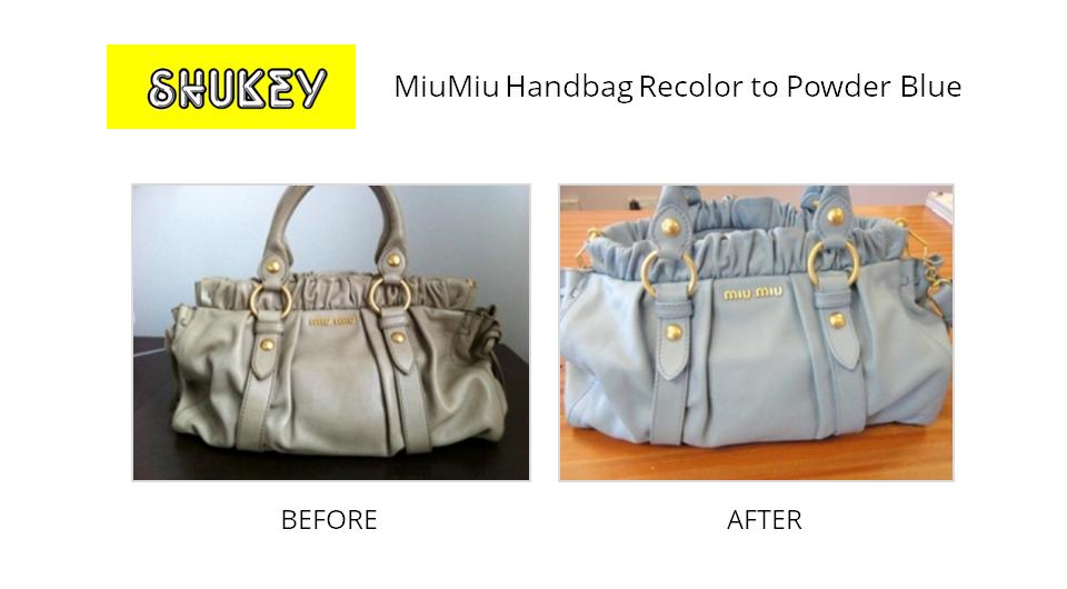 Shukey Leather Repair Before After Miumiu Handbag Recolor To Powder